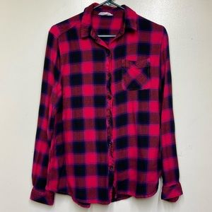 Beach Lunch Lounge Cherry Red Plaid Flannel Top Sm